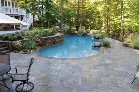 pool deck stone freeform pool natural stone pool decking annapolis md