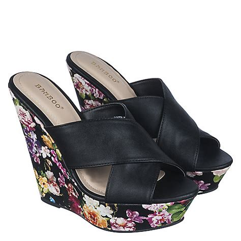 Booth Wedges bamboo booth 22 s black floral high heel wedge