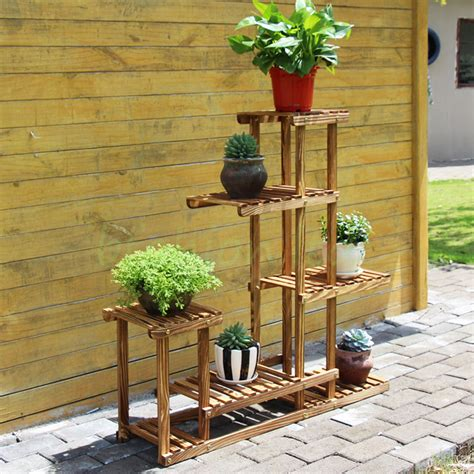 Plant Rack Outdoor by Wooden Plant Flower Herb Display Stand Shelf Storage Rack Outdoor 7 Pots Holder 163 29 99