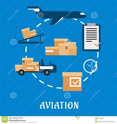 air cargo  logistics flat design stock vector image