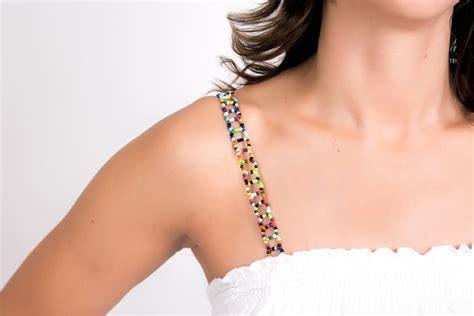 beaded bra straps bra straps by strappys multi colored beaded bra straps