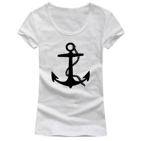 pattern black and white shirt novelty sexy low cut logo design women anchor bear t
