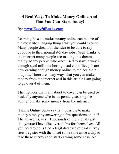 Actual Ways To Make Money Online - 4 real ways to make money online and that you can start today
