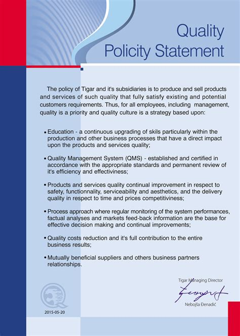 template of quality policy best photos of quality policy statement exles company quality policy statement iso quality
