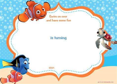 printable nemo birthday invitations free printable finding nemo birthday invitation