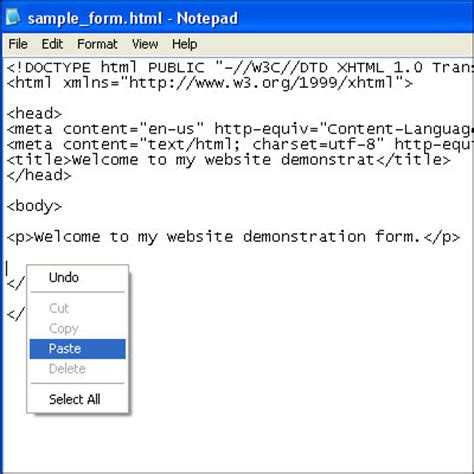 format html in notepad using notepad to build an email form