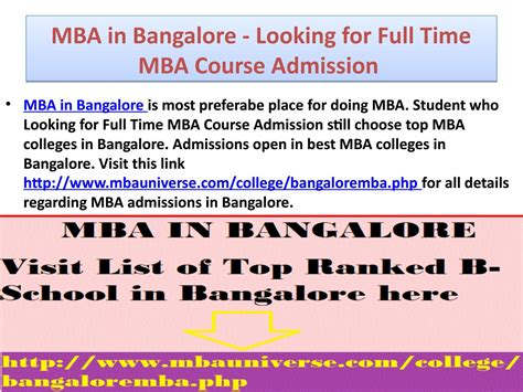 Mba Course Duration And Fees by Mba In Bangalore Looking For Time Mba Course