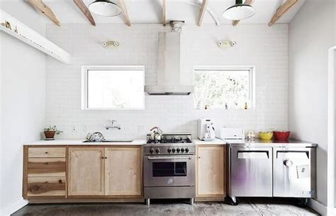 Kitchen With Only Lower Cabinets Single Wall Kitchen With Only Lower Cabinets Exposed Wood Beam Ceiling White Subway Tiled