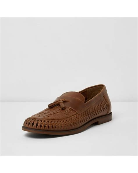 D Island Boots Portland Slip On Leather Brown river island woven leather loafers in brown for lyst