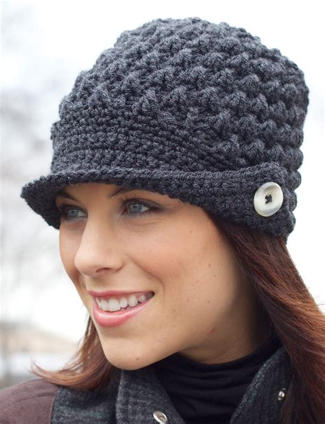 free crochet pattern for army hats yarnspirations com patons women s peaked cap
