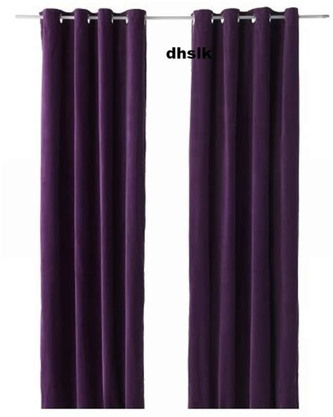 purple velvet curtain ikea sanela curtains drapes 2 panels lilac purple velvet