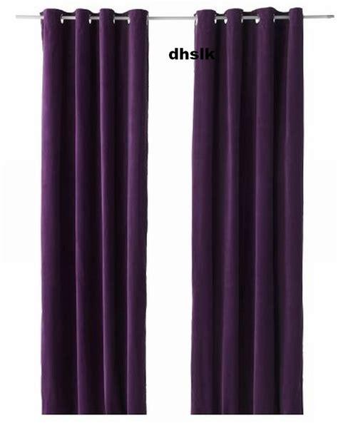 Ikea sanela curtains drapes 2 panels lilac purple velvet 98 quot