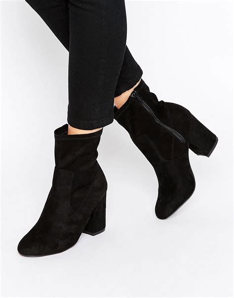 sock boots new look new look heel sock ankle boots black 163 20 50
