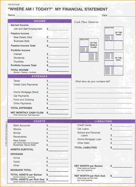personal financial statement forms personal financial statement