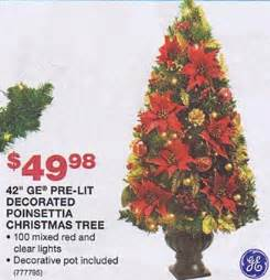 black friday artificial christmas tree sales 42 ge pre lit decorated poinsettia christmas tree