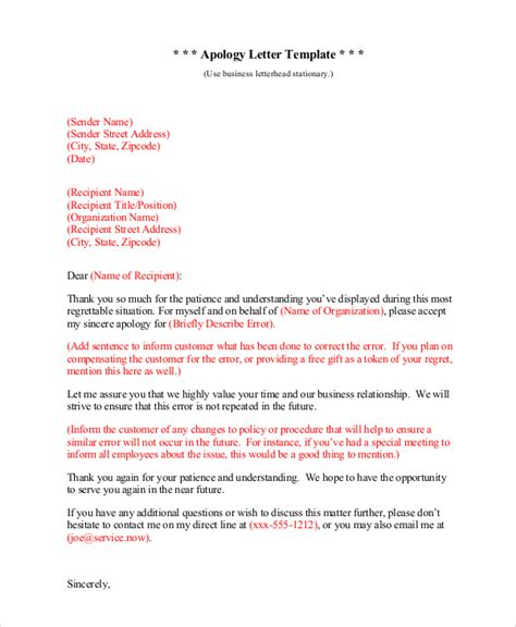 Apology Letter Exle Business Sle Sincere Apology Letter 5 Documents In Word Pdf