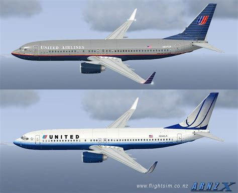 united flight united airlines boeing 737 800 old new repaints for fsx