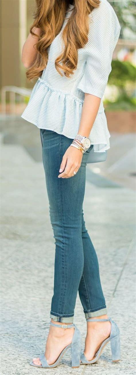 Blus Karmila Peplum blue peplum top i want to wear that mode inspiration