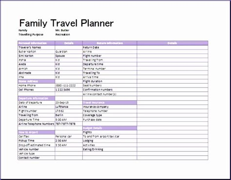 9 Flight Itinerary Template Excel Exceltemplates Exceltemplates Itinerary Planner Template