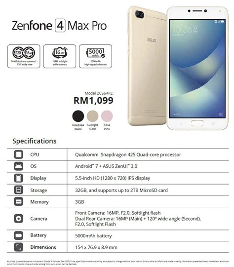 Asus 4 Max Pro the asus zenfone 4 price list pre order offers revealed