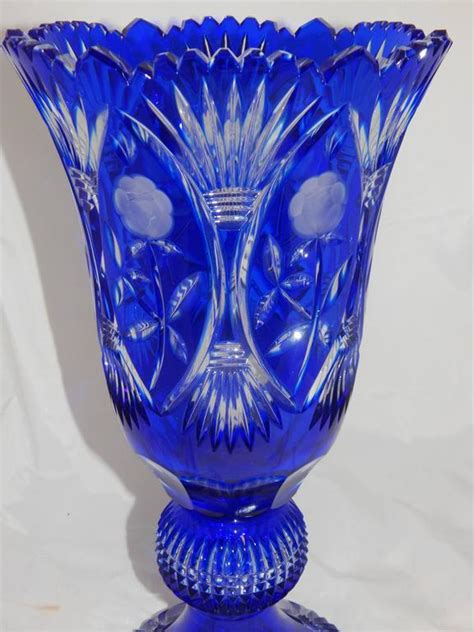 beautiful cobalt blue cut glass vase for sale at 1stdibs