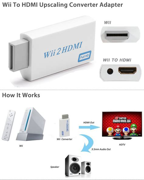 Wii To Hdmi 1080p Converter Adapter Murah wii to hdmi 720p 1080p upscaling converter adapter with 3 5mm audio output ebay