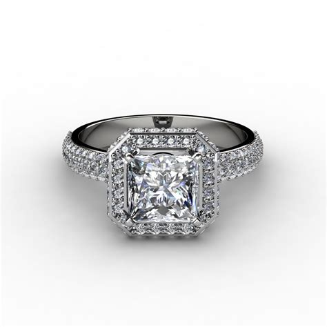 pave halo princess cut engagement ring