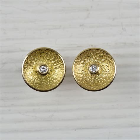 No Gold At Goldsmiths by 18ct Gold Earrings With Diamonds By Mh Goldsmith