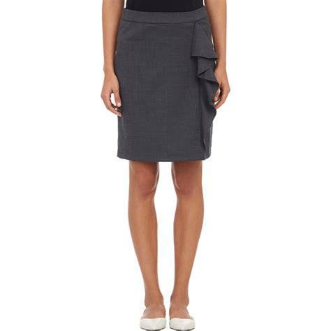 barneys new york ruffle pencil skirt in black lyst