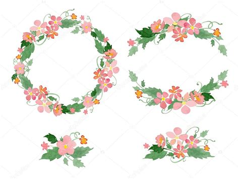 cornici di fiori corone floreali acquerello cornici mazzi di fiori