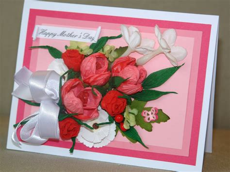 Mothers Day Handmade Cards - s day card handmade pink paper flowers bouquet