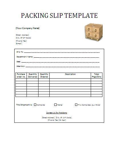 packing slip template wordtemplateshub com