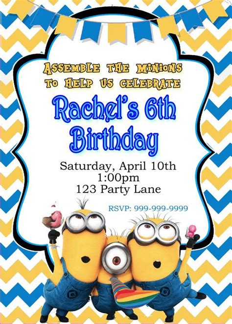 minion invitation card template 119 best images about minions on