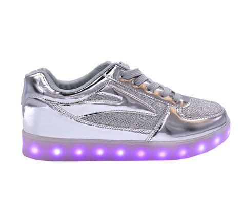 silver sneakers galaxy led shoes light up usb charging low top women s