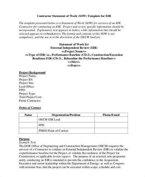 Contractor Statement Of Work Template by Statement Of Work Template 11 Free Pdf Word Excel