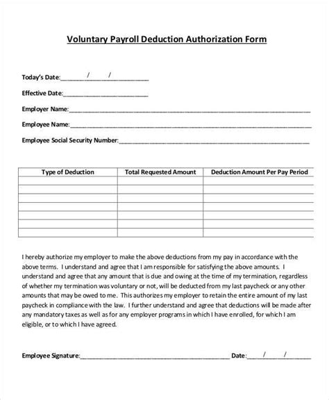 employee payroll forms template employee payroll deduction form template templates