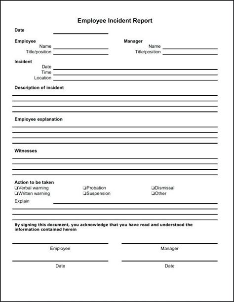 workplace report form incident report form