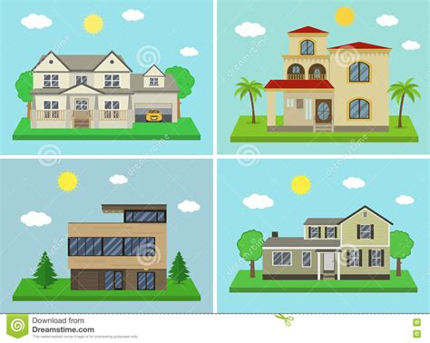 traditional and modern house family home flat design traditional and modern house cartoon vector