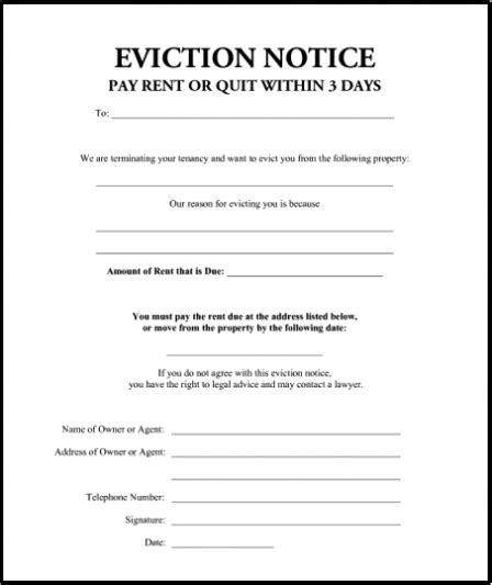 printable 3 day eviction notice blank free eviction notice template pdf word