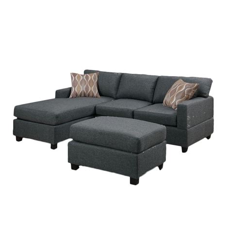 gray blue sofa poundex bobkona lexington 3 piece reversible sectional