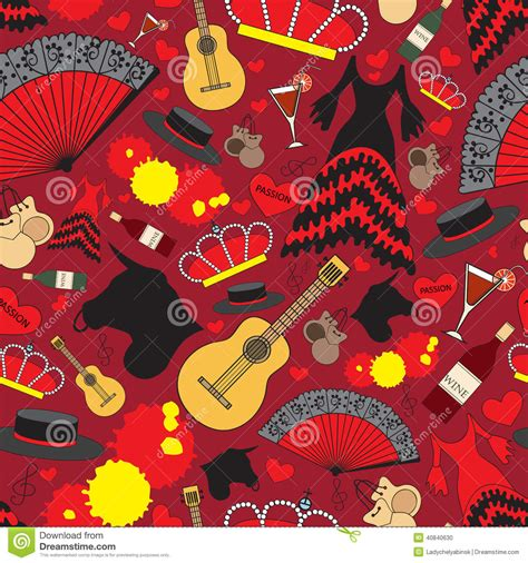 pattern in espanol pattern with symbols of spain for use in design stock