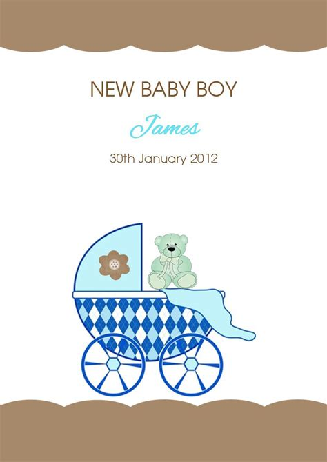 Gift Card Messages For New Baby Boy - personalised new baby boy card design 4