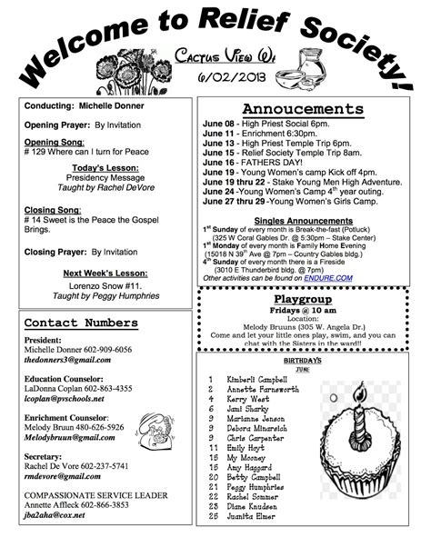 Cactus View Relief Society June 2013 Relief Society Newsletter Template Free