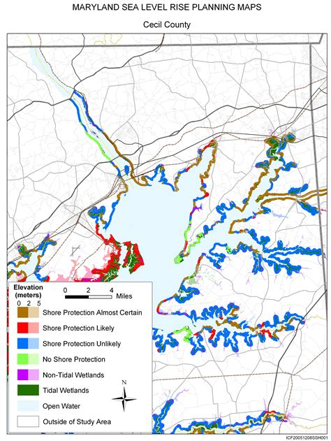 maryland map cecil county sea level rise planning maps