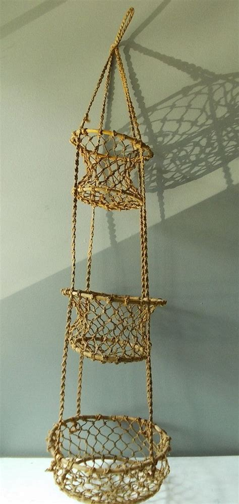 Macrame Hanging Baskets - 3 tier hanging basket macrame and bamboo vintage kitchen