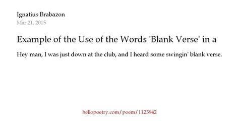 exle of the use of the words blank verse in a