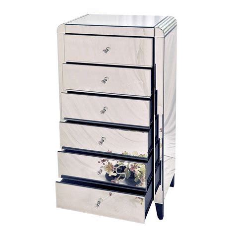 Mirrored Tallboy Chest Of Drawers by Six Drawer Mirrored Tallboy Chest By Out There Interiors