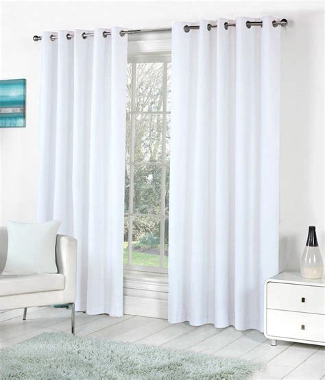 solid white curtains pindia set of 2 window eyelet curtains solid white buy