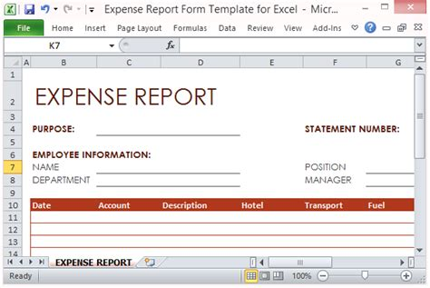 expense form template excel expense report form template for excel
