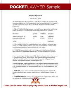 Supplier Agreement Contract Template supply agreement supply contract template form with sample
